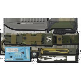 Cuchillo táctico Thunder I en boscoso pixelado.