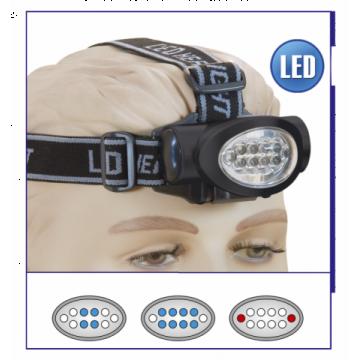 Linterna frontal con 3 funciones de LED