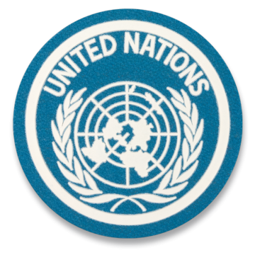 Parche de United Nations (U.N.) en azul