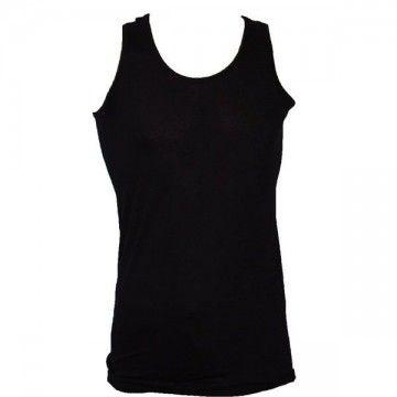 Camiseta lisa de tirantes en Negro. Corte militar.