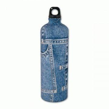 Botella de aluminio de 1 L en blue jeans de Aventuralia