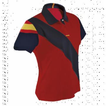 Polo técnico España mujer en rojo y azul marino de Dry Fresh