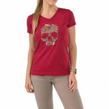 Camiseta Skull Kaliber en rojo para mujer de 5.11