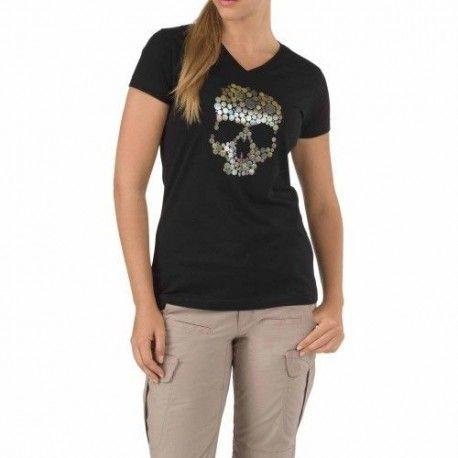 Camiseta Skull Kaliber en negro para mujer de 5.11