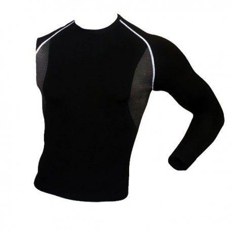 Camiseta térmica de manga larga de alto rendimiento bicolor.