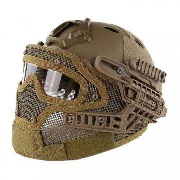 Casco con máscara de protección completa Coyote Edition