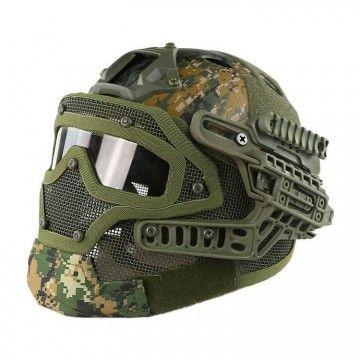 Casco con máscara de protección completa Digital Woodland Edition