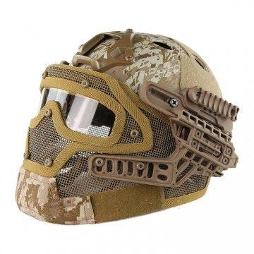 Casco con máscara de protección completa Digital Desert Edition