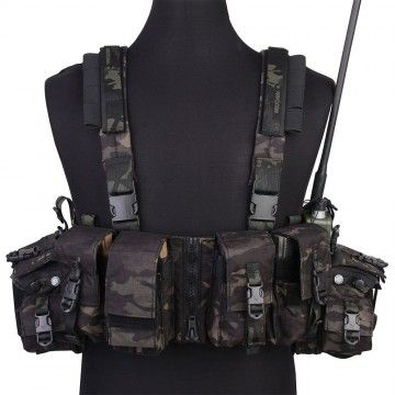 Chaleco Táctico Chest Rig multi-función en Black Multicam