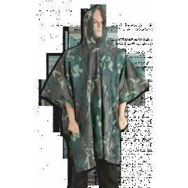 Waterproof poncho. Green camouflage