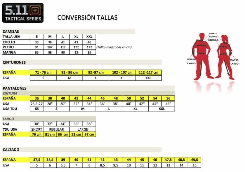 GUIA DE TALLAS 5.11 TACTICAL